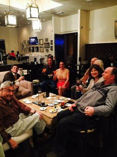 Hal Behl, Pavlos Panagopoulos, Richard Bernal, Alice Bernal, Bob Schauer, Sandi Schauer, Julie Taylor and our mystery guest